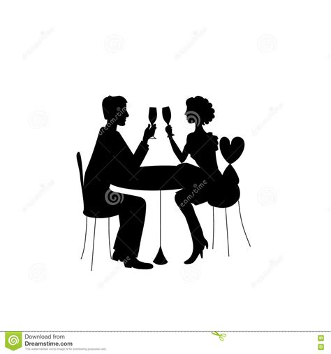 dinner silhouette romantic couple in restaurant stock vector illustration