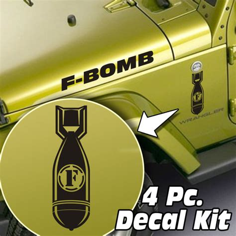 jeep hood decals jeep wrangler 4 pc hood fender f bomb decal kit jeepazoid