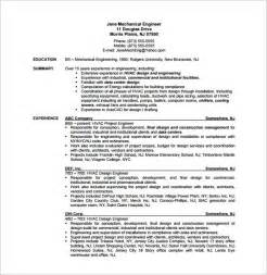 mechanical project engineer resume sle sle resume for hvac tech hvac resume templates doc