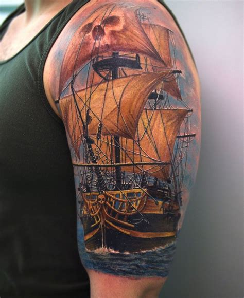 pirate tattoo sleeve pirate tattoos awesome 3d pirate ship on left