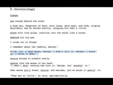 of mice and men section 1 of mice and men lennie key quotes section 1 youtube