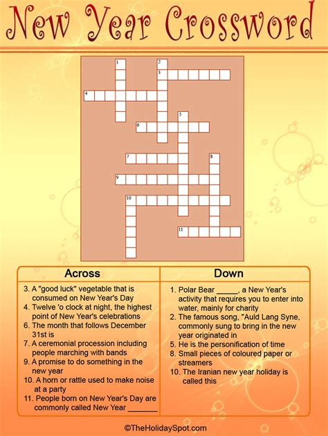 new year crossword new year puzzle new calendar template site