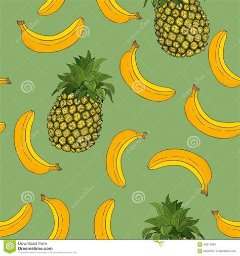 banana wallpaper pattern banana and pineapple pattern stock vector image 44314839