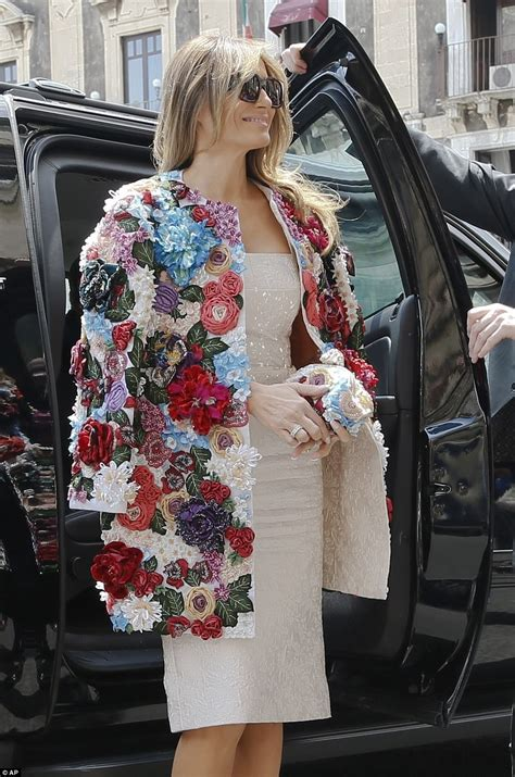 melania wears unique floral jacket for sicily trip