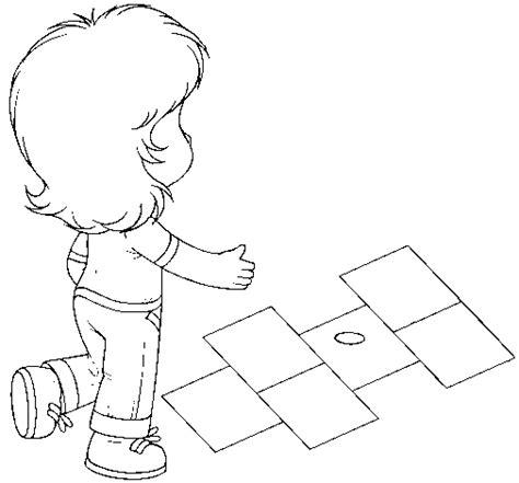 dibujos de niños jugando rayuela derecho a la recreacion para colorear imagui
