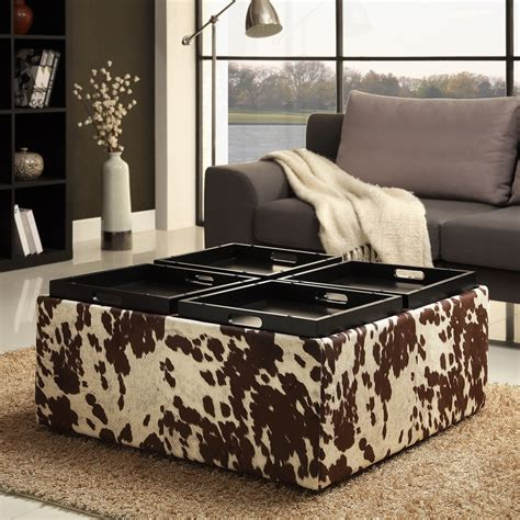 Cowhide Home Decor | tribecca home decor brown white cow hide storage ottoman