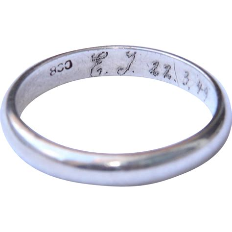 1940 s engraved 800 silver wedding band from vianova on