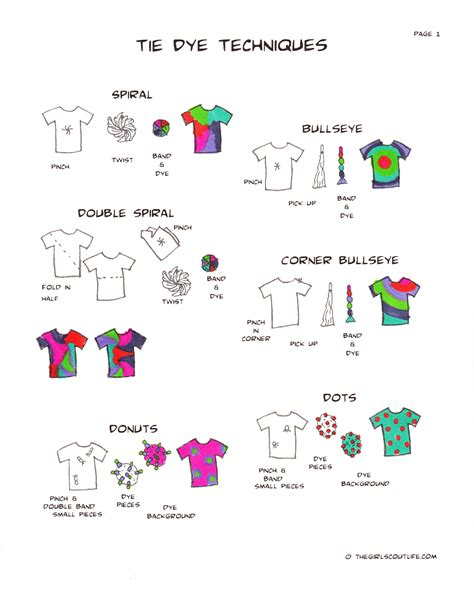 tie pattern types the girl scout life crafting tie dye