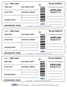 air ticket template printable airplane boarding pass invitations coolest