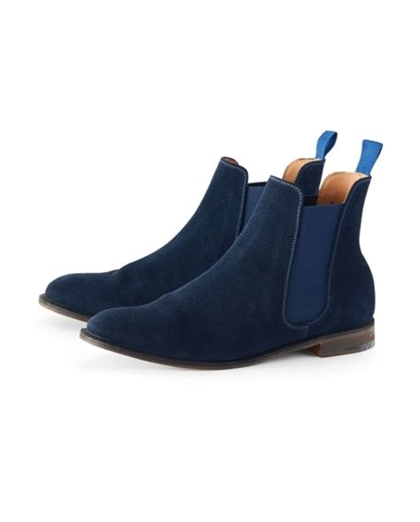 handmade blue chelsea leather boot mens blue ankle