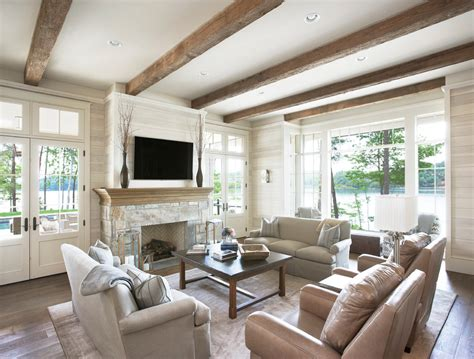 lake house living room french oak flooring living room traditional with lake house beige sofa