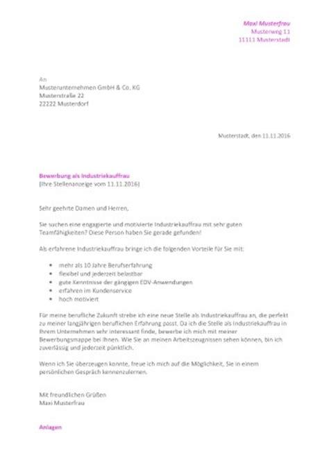 Bewerbung Anschreiben Muster Industriekauffrau Bewerbungsanschreiben Muster Downloads Hinweise