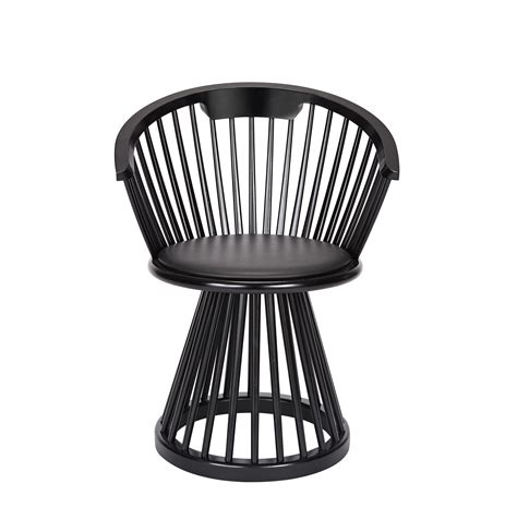 armchair fan fan armchair h 78 cm wood leather black black leather seat by tom dixon