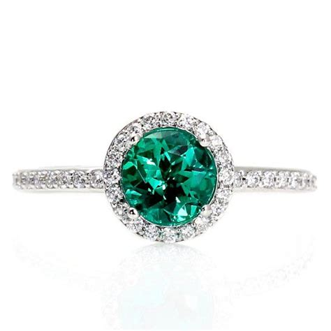 14k emerald engagement ring halo emerald ring by
