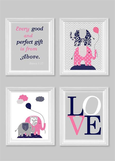 Pink And Navy Nursery Decor Elephant Nursery Gray Navy Pink Baby Room Decor Every And Gift Quote Bible