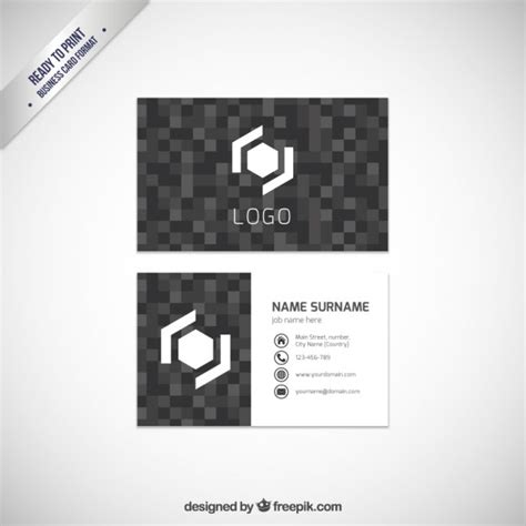 Card Template Darkroom by Business Card Template With Pixels Vector Free