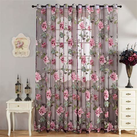 sheer flower curtains flower curtain transparent tulle curtains window screening