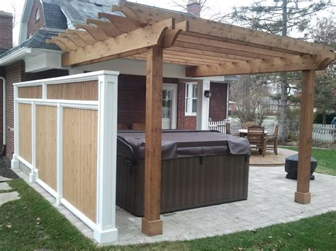 hot tub pergola privacy screen covered porch with hot
