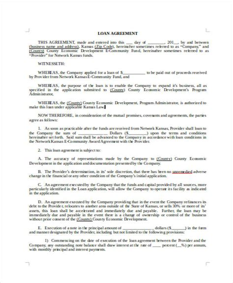 standard loan agreement template 28 images loan