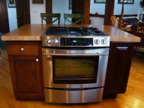 stove in kitchen island maple custom wood countertops butcher block