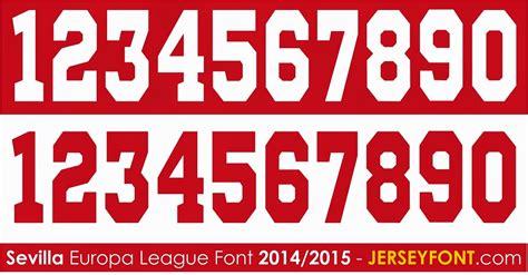 Custom Font Nameset Sevilla 2014 15 font number of football jersey