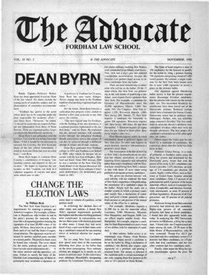 Fordham Jd Mba by The Advocate Vol 19 1986 1987 Fordham School