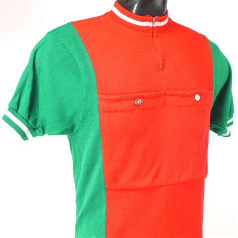 Two Shirt Preloved vintage cycling shirt with green sides vintage velo