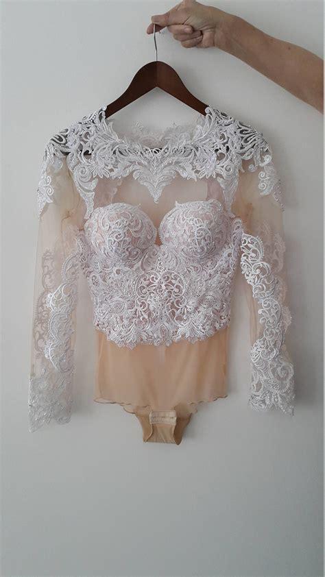 Wedding Top/Bridal Long Sleeves Backless Bodysuit/ Luxury