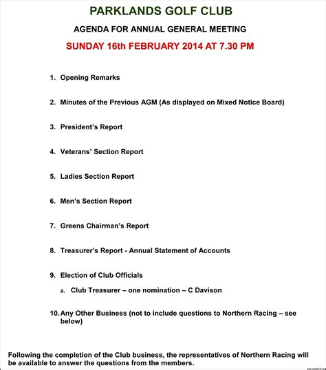 agenda for agm template annual general meeting agenda template template