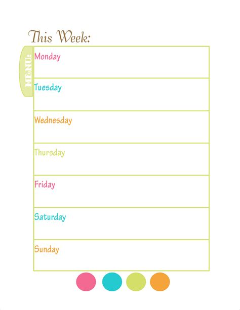 printable menu template menu planning new calendar template site