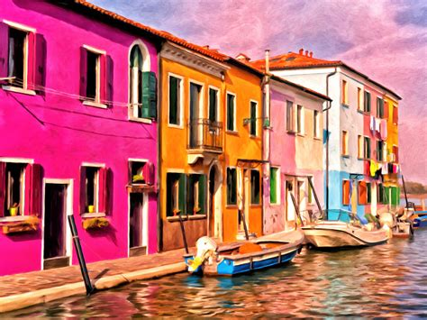 colorful houses painting colorful houses of burano by michael pickett