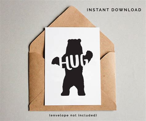 free printable greeting cards just because printable greeting card just because card bear hug friend