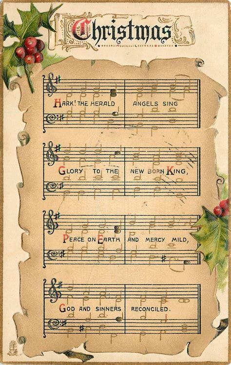 printable vintage christmas sheet music hark the herald angels sing sheet music pinterest