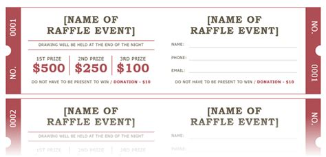 how to get a free raffle ticket template for microsoft word