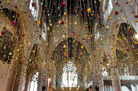 hanging artwork suspended floral installations by rebecca louise law