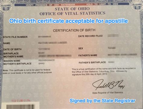 State Of Ohio Birth Records Ohio Apostille Apostille Service By Apostille Net