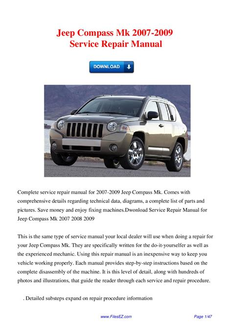 how to download repair manuals 2007 jeep commander regenerative braking jeep compass mk 2007 2009 service repair manual by david wong issuu