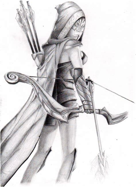 Dota 2 Sketches by Dota 2 Drow Ranger Pencil On Paper By Jenducky On Deviantart