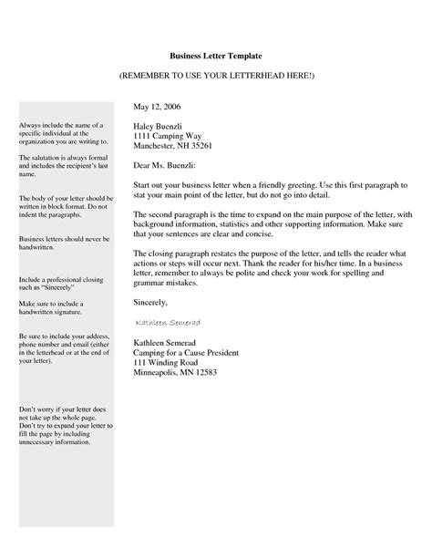 template of a business free business letter template format sle get