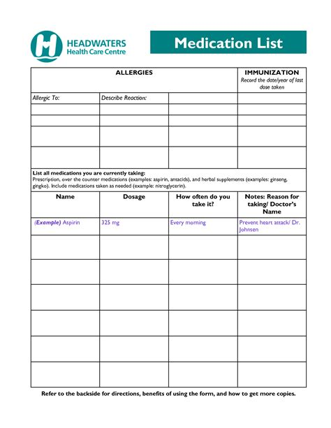 free printable medication list template blank medication list form pictures to pin on