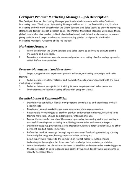 19 marketing job descriptions free sle exle