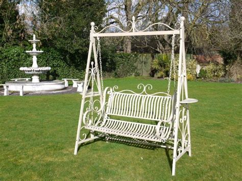 swinging benches for the garden wrought iron french cream antique style garden bench swing