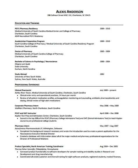 Pharmacist Resume Format by Pharmacist Resume Template 6 Free Word Pdf Document