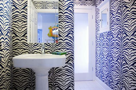 zebra pattern decor zebra wallpaper contemporary bathroom mona ross