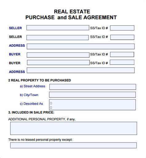 free real estate contract templates purchase and sale agreement 7 free pdf