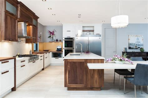 kitchen design montreal solid walnut white velvet laquer with quartz counter top