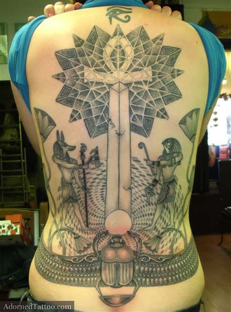 egyptian tattoo geometric steph s egyptian back tattoo features geometric dotwork