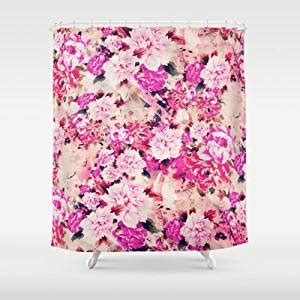 Girly Shower Curtains Society6 Pink Chic Floral Pattern Girly Peonies Shower Curtain By Girly