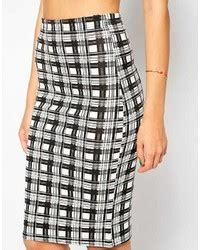 Wn Dress Trily Yellow Scuba club l scuba pencil skirt in check print where to buy how to wear