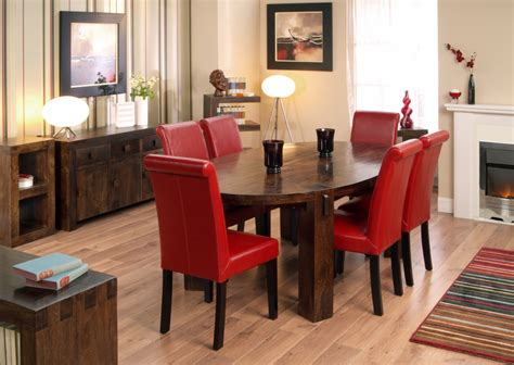 red dining room table dining table with red leather chairs and server in nice